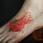 Smashed Tomato Aquarelle tattoo by Galata Tattoo on Foot