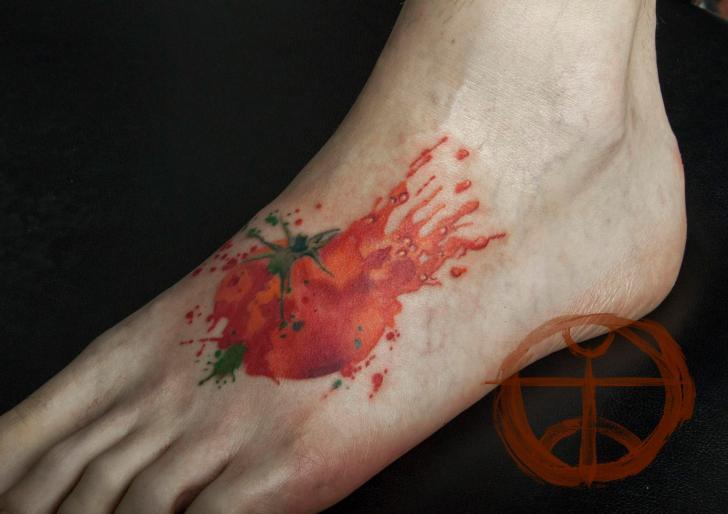 Smashed Tomato Aquarelle tattoo by Galata Tattoo on Foot