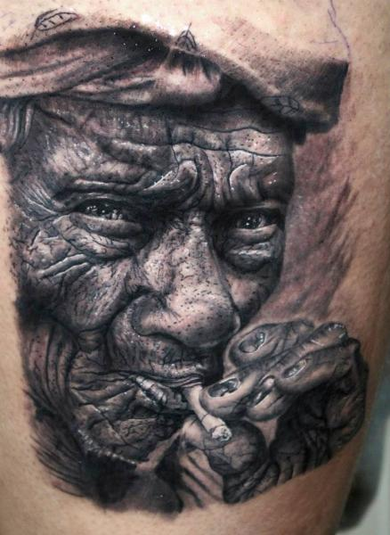 Smokring Old Man Realistic tattoo by Georgi Kodzhabashev