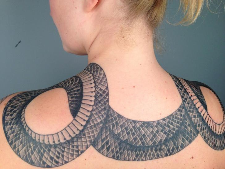 Snake Neck and Back Blackwork tattoo by Three Kings Tattoo