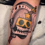 Space Helmet Death Scythe New School tattoo by Destroy Troy Tattoos