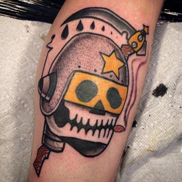 Space Helmet Death Scythe New School tattoo by Destroy Troy Tattoos