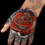Space Rose Moon tattoo by Andres Acosta
