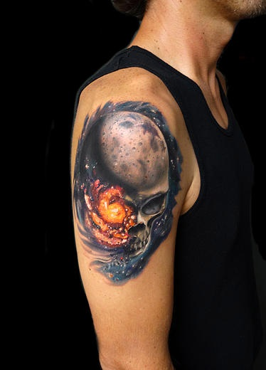 Space Universkull  Skull tattoo by Andres Acosta