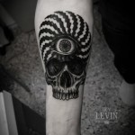 Square Lines Hypnoze Eye Skull tattoo by Ien Levin