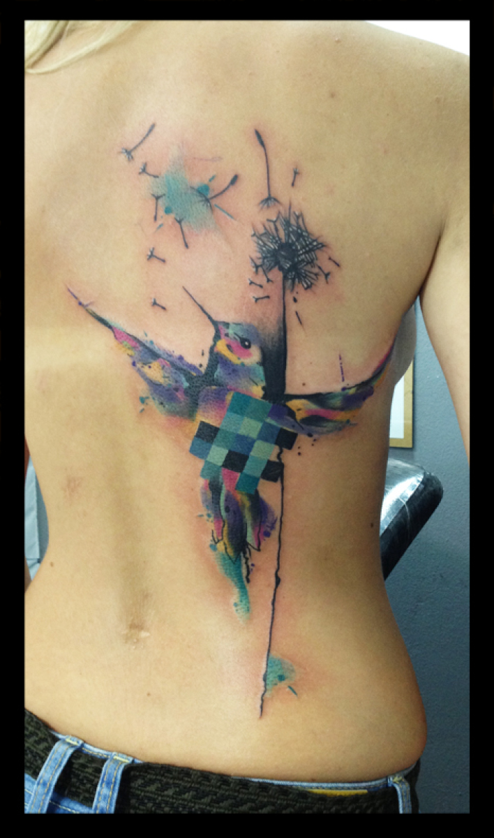 Squared Body Colobri tattoo by Live Two