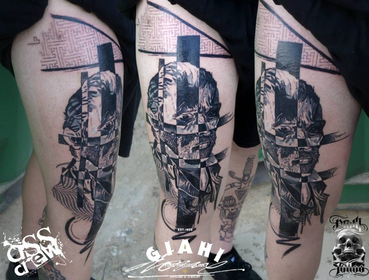 Squares Negative Devided Man tattoo by George Drone