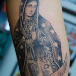 Star Cape Praying Mary Blackwork tattoo by Illsynapse