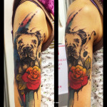 Staring Dog Aquarelle tattoo by Live Two