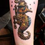Steam Punk Metal Sea Horse Nautical tattoo