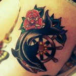 Steering Wheel Rose and Shark Nautical tattoo
