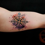 Strange Compas Aquarelle tattoo by Galata Tattoo