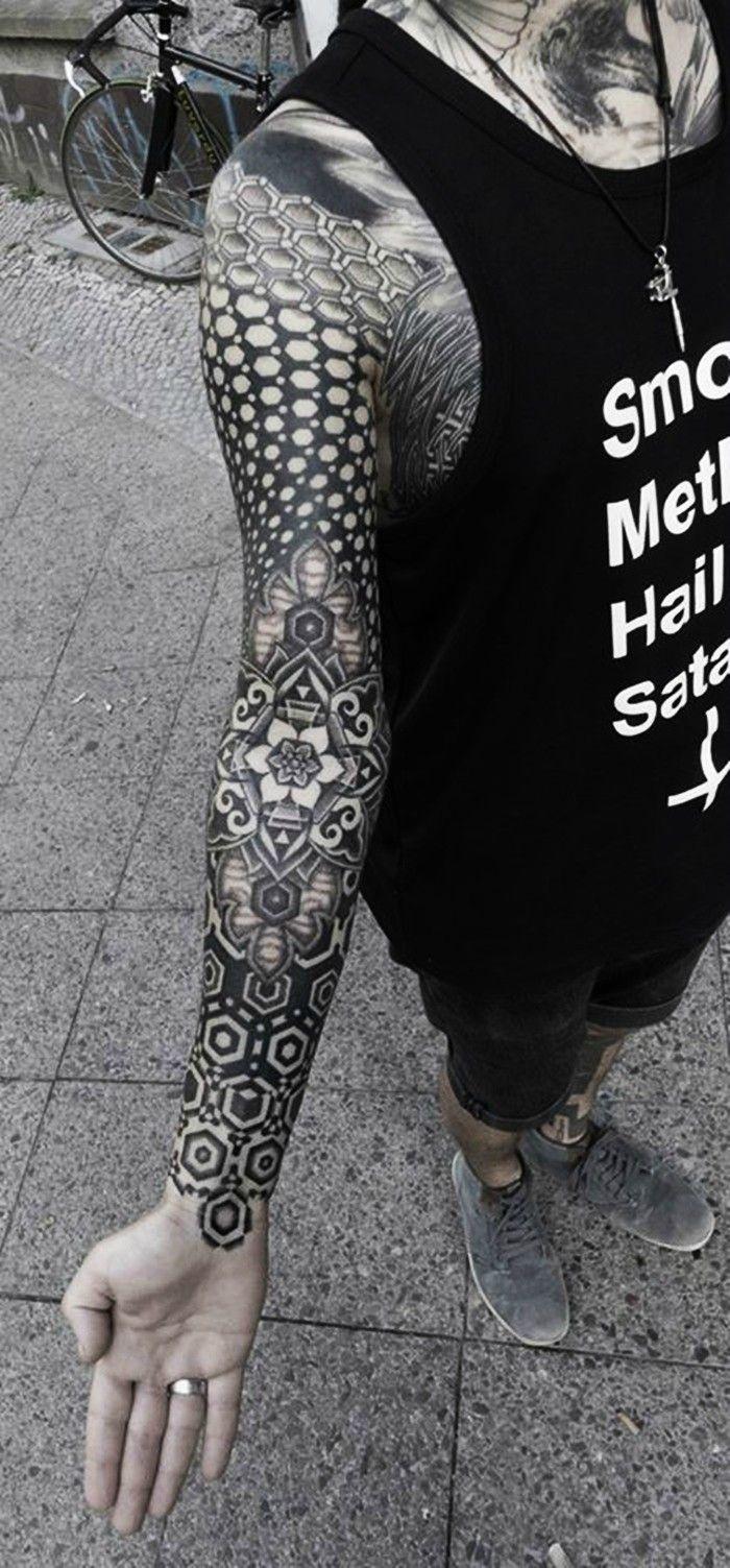 Striking Geometric Stipple Tattoos by Kenji Alucky