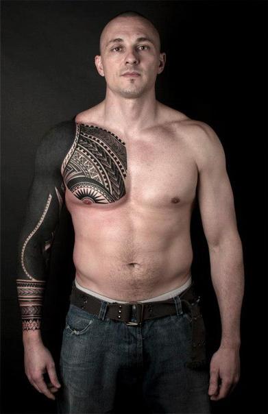 Sun Nipple Aztec Blackwork tattoo sleeve
