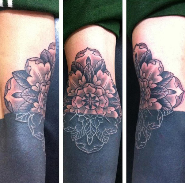 Sunken Flower Blackwork tattoo