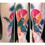 Sunset Blackthorn Birds tattoo by Julia Rehme