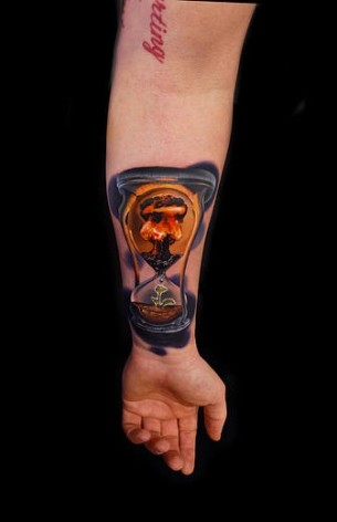 Symbolic Nuclear Hourglass tattoo by Andres Acosta