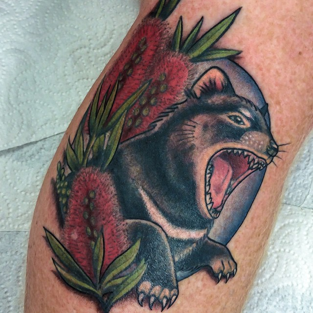 Tassie Devil tattoo by Dea Darling
