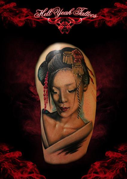 Tender Geisha Realistic tattoo by Hellyeah Tattoos