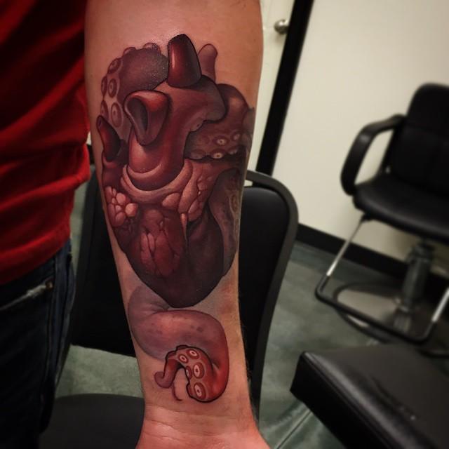 Tentacle Heart tattoo by Timmy B NiteOwl Tattoo