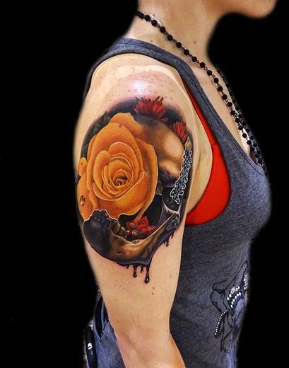 Texas Skull tattoo by Andres Acosta