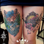 Thigh Fox Hare and Sparrow tattoo by Agat Artemji