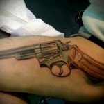 Thigh Revolver Realistic tattoo by Resul Odabaş