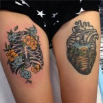 Thighs Skeleton Ribs and Forest Heart tattoo by Aaron Ashworth