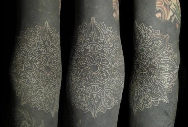 Thin Lines White Mandala in Black Blackwork tattoo