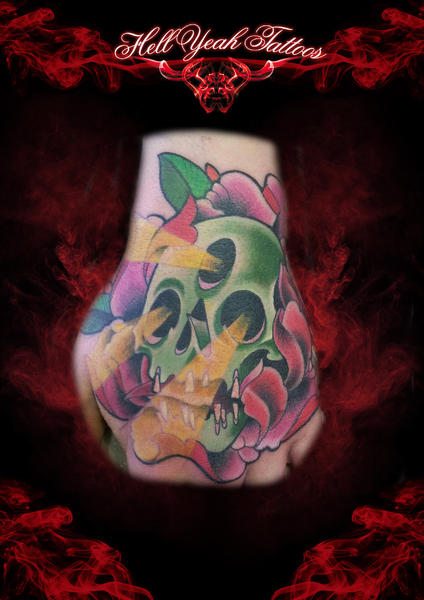 Three Eyes Holes Light Scull tattoo by Hellyeah Tattoos