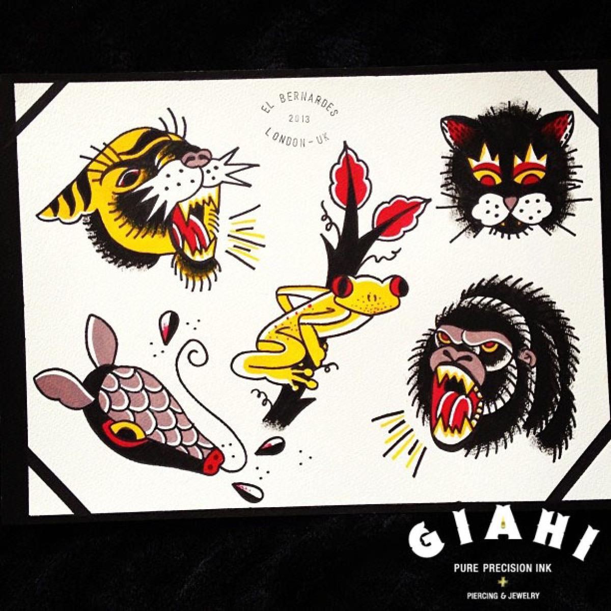 Tiger Cat Frog Gorilla Armadillo tattoo ideas by Elda Bernardes
