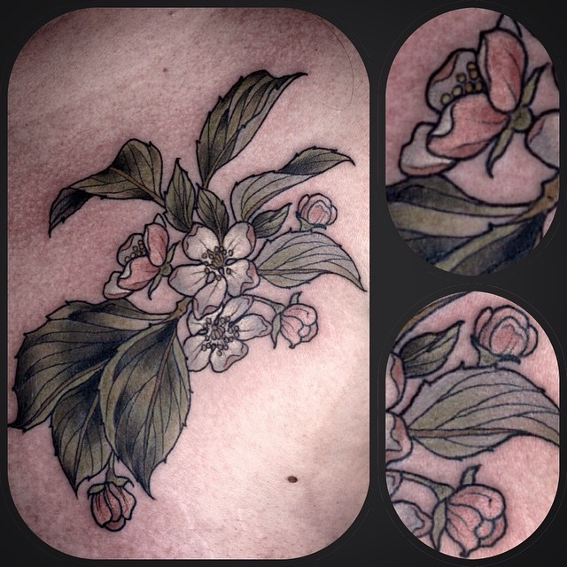 Tiny Detailed Flowers tattoo by Wonderland PDX