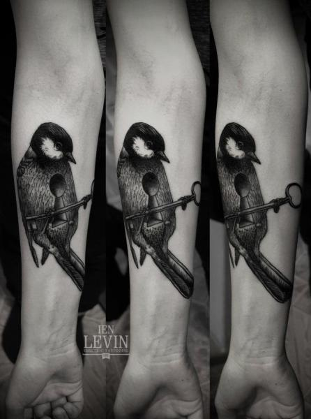 Titmouse with Key Dotwork tattoo by Ien Levin