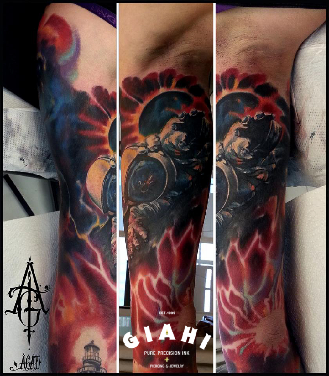 To The Comet Astronaut Tattoo By Agat Artemji