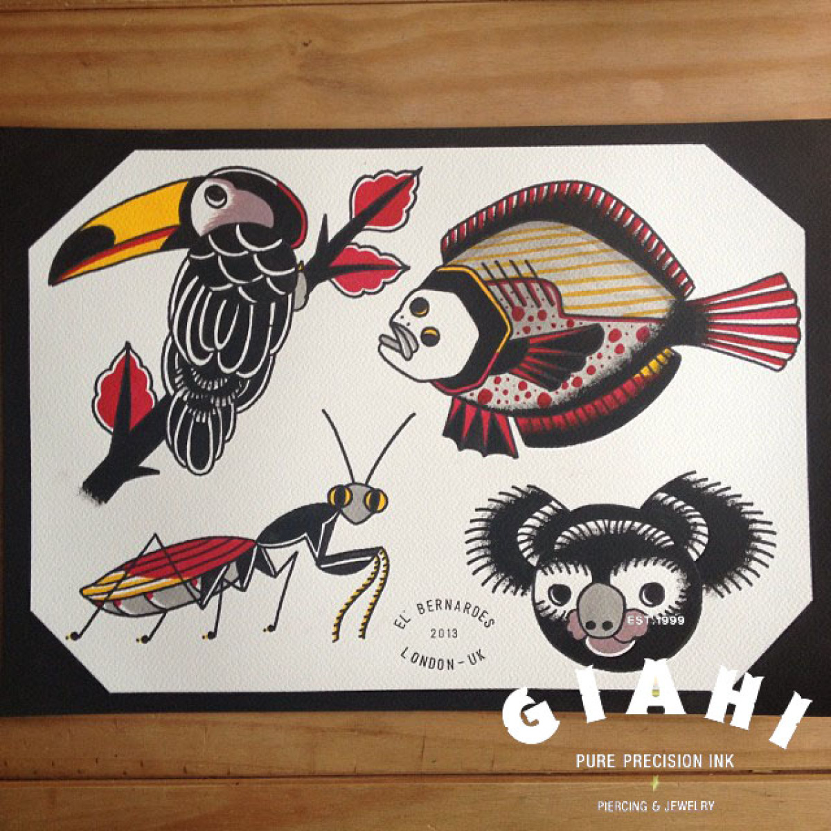 Toucan Flounder Mantis Koala tattoo ideas by Elda Bernardes