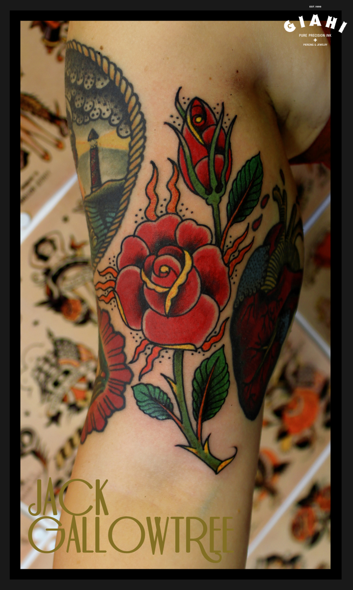 Traditional Roses Old School tattoo by Jack Gallowtree