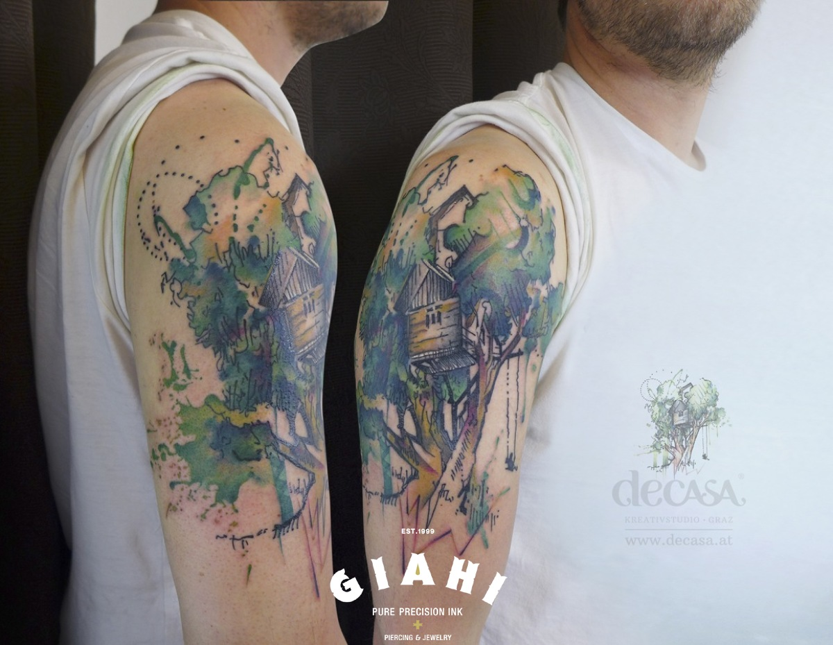 Tree house tattoo on shoulder by carola deutsch best for Tree shoulder tattoo