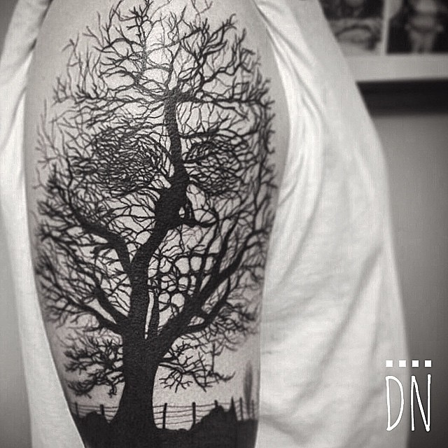 Tree Realistic Blackwork tattoo by Dinonemec