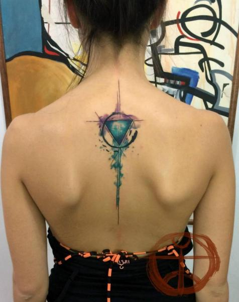 Triangle Circle Aquarelle tattoo by Galata Tattoo