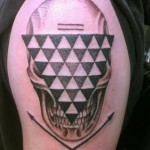 Triangle Face Skull Dotwork tattoo by Three Kings Tattoo