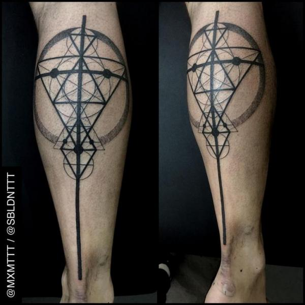 Triangle Rhombus and Circles Signs Dotwork tattoo by MXM