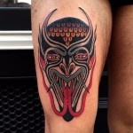 Twin Tongue Demon Mask tattoo by Luke Jinks