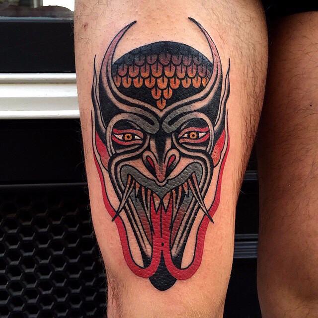 Twin Tongue Demon Mask tattoo Luke Jinks