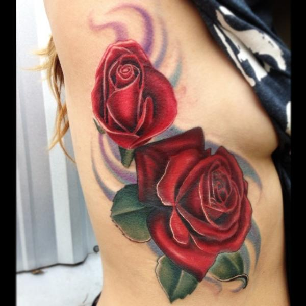 Two Red Roses Realistic tattoo by Mike Woods