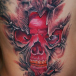 Under Skin Red Skull 3D tattoo by Szilard