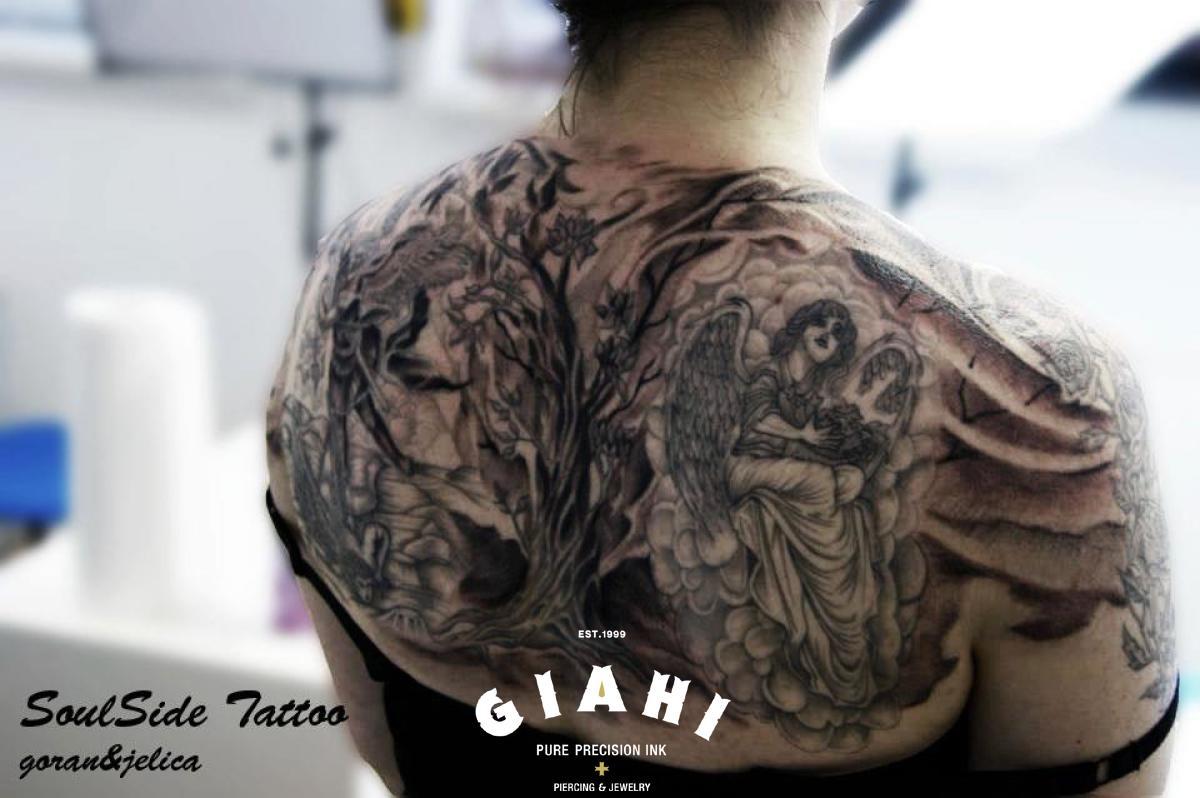 Under the Tree Angel tattoo by Goran Petrovic