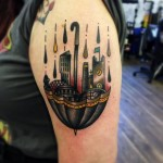 Up Side Down Town Umbrella New School tattoo by Matt Cooley
