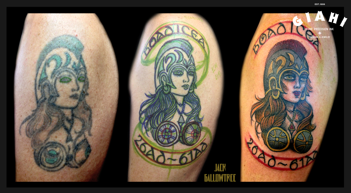 Viking Girl Warrior Cover Up tattoo by Jack Gallowtree