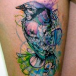Violet Blue Bird Aquarelle tattoo by Galata Tattoo