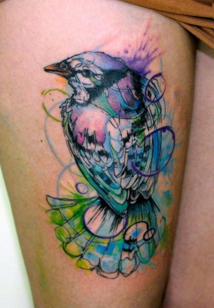 Violet Blue Bird Aquarelle tattoo by Galata Tattoo